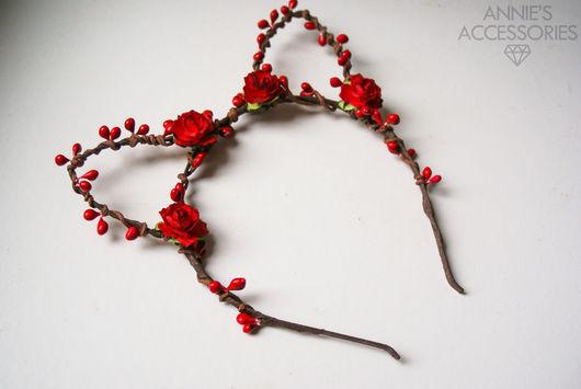 Диадемы, обручи ручной работы. Ярмарка Мастеров - ручная работа. Купить Ушки на ободке, ободок с ушками, цветочные ушки. Handmade.