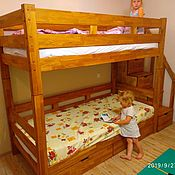 Кровати ручной работы. Ярмарка Мастеров - ручная работа Двухъярусная кровать из дуба. Handmade.