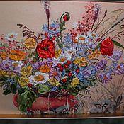 Картины и панно ручной работы. Ярмарка Мастеров - ручная работа Цветы луговые Вышивка. Handmade.