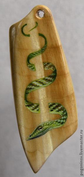 """Кулоны, подвески ручной работы. Ярмарка Мастеров - ручная работа. Купить Кулон """"Змея"""". Handmade. Березовый кап, дерево, акварель"""
