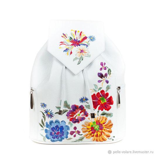 """Рюкзаки ручной работы. Ярмарка Мастеров - ручная работа. Купить Рюкзак """"Вышивка Букет"""". Handmade. Белый, букет цветов"""