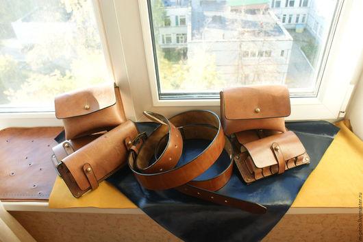 Мужские сумки ручной работы. Ярмарка Мастеров - ручная работа. Купить набор охотничий подсумки. Handmade. Коричневый, аппретура