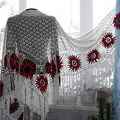 Аксессуары handmade. Livemaster - original item Shawl crochet. Only nine chrysanthemums. Semi-wool.. Handmade.
