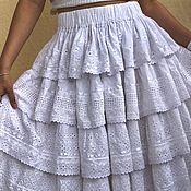 Одежда handmade. Livemaster - original item Lush summer skirt white cotton embroidery lace boho sun.. Handmade.