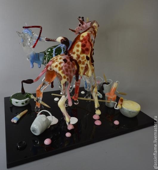 Статуэтки ручной работы. Ярмарка Мастеров - ручная работа. Купить Импрессионисты. Handmade. Жирафы, художественное стекло