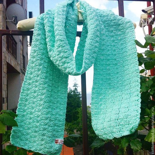 Шарфы и шарфики ручной работы. Ярмарка Мастеров - ручная работа. Купить Хлопковый шарф нежно-мятного цвета. Handmade. Мятный
