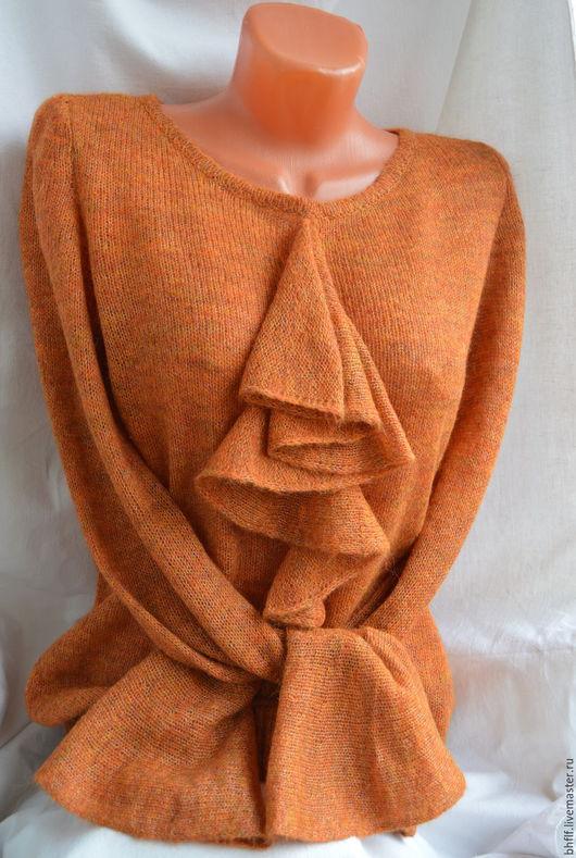 Кофты и свитера ручной работы. Ярмарка Мастеров - ручная работа. Купить Джемпер женский. Handmade. Оранжевый, бирюза, жабо, мохер