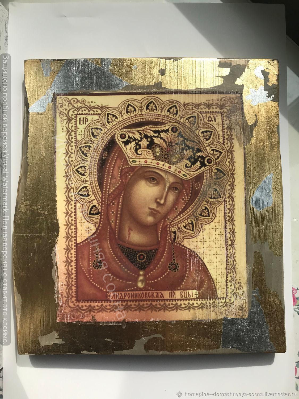 Икона Богородицы Андрониковская деревянная под старину икона, Иконы, Гатчина,  Фото №1