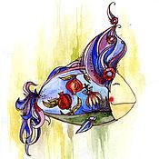 """Картины и панно ручной работы. Ярмарка Мастеров - ручная работа Картина акварель """"Рыба с фиолетовыми волосами"""". Handmade."""