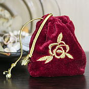 Материалы для творчества handmade. Livemaster - original item gift wrapping for jewelry or gift velour pouch, pouch. Handmade.