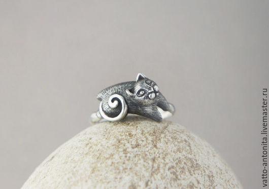 Кольца ручной работы. Ярмарка Мастеров - ручная работа. Купить Котофей - кольцо серебряное с котиком. Handmade. Кольцо, серый, серебро