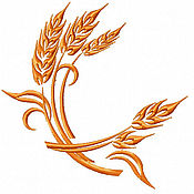 Иллюстрации ручной работы. Ярмарка Мастеров - ручная работа колосья пшеницы дизайн машинной вышивки. Handmade.