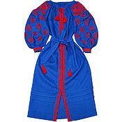 "Одежда handmade. Livemaster - original item Long dress with embroidery ""The sun of Trypillya"". Handmade."