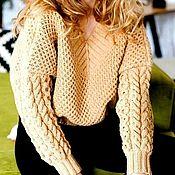 Одежда handmade. Livemaster - original item Women`s sweater honeycomb oversize beige. Handmade.