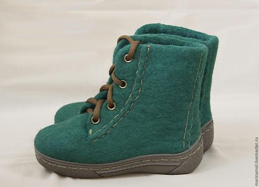 """Обувь ручной работы. Ярмарка Мастеров - ручная работа. Купить Детские валяные ботинки """"Зеленые"""". Handmade. Зеленый, Валяные ботинки"""