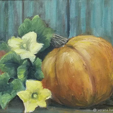 Pictures and panels handmade. Livemaster - original item Oil painting. pumpkin. Still life landscape. Handmade.