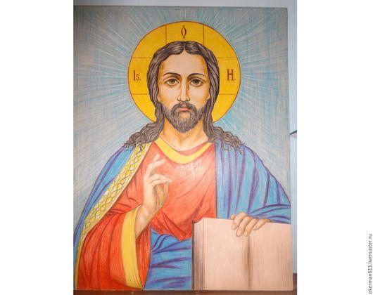 Иконы ручной работы. Ярмарка Мастеров - ручная работа. Купить Иисус Христос. Handmade. Ярко-красный, желтый, черный