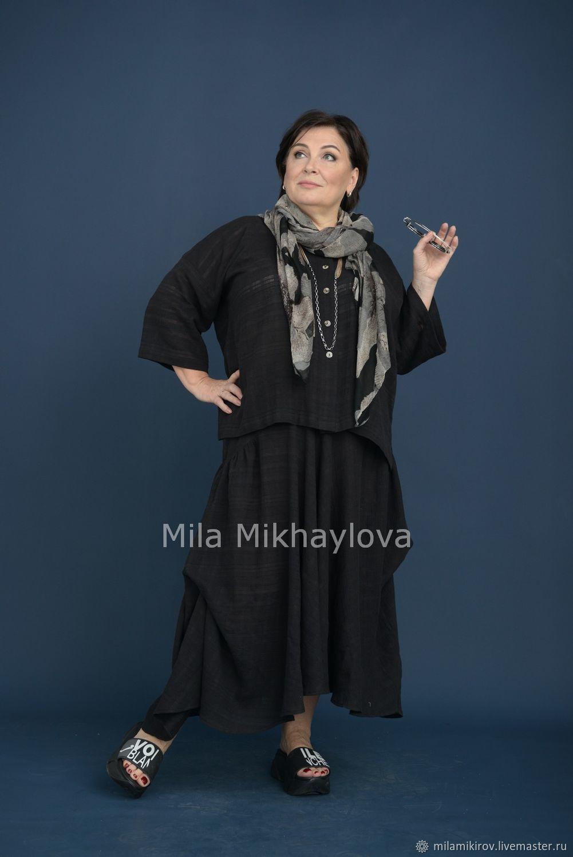 Skirt on the yoke of textured gauze, cotton black Art. Three thousand six hundred thirty nine, Skirts, Kirov,  Фото №1