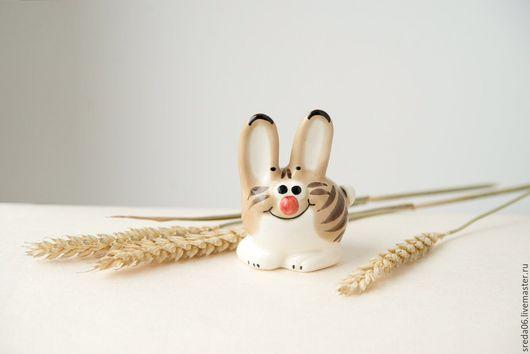 Статуэтки ручной работы. Ярмарка Мастеров - ручная работа. Купить Котозаяц Весенний подарок 1 апреля. Handmade. Белый