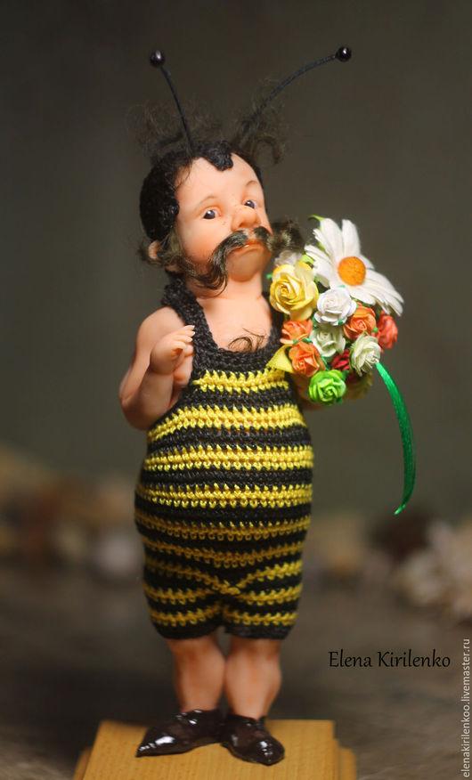 """Коллекционные куклы ручной работы. Ярмарка Мастеров - ручная работа. Купить """" Мохнатый шмель"""". Handmade. Желтый"""