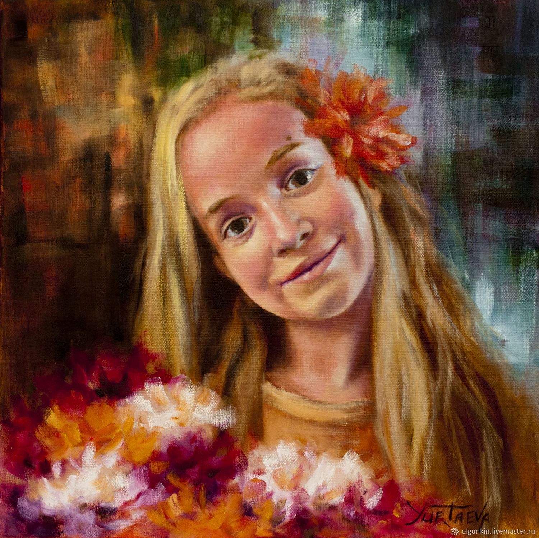 Портрет из живых цветов на заказ купить зеленые розы в москве