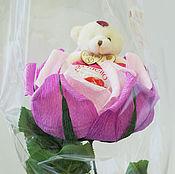 """Цветы и флористика ручной работы. Ярмарка Мастеров - ручная работа Букет  """"Мишка в розе на стебле"""". Handmade."""