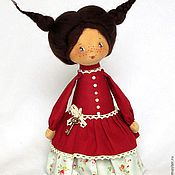 Куклы и игрушки ручной работы. Ярмарка Мастеров - ручная работа Пеппита  - смешливая, задорная, красный, косички, улыбка. Handmade.