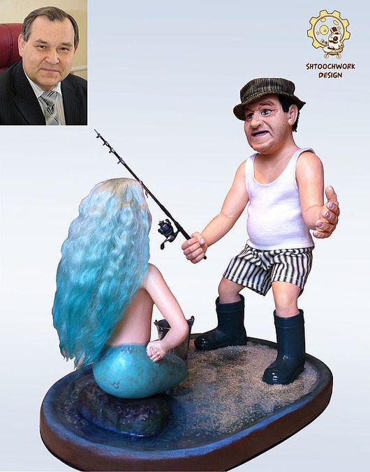 Коллекционные куклы ручной работы. Ярмарка Мастеров - ручная работа. Купить Портретная кукла «Рыбак» на заказ. Handmade. Тёмно-бирюзовый