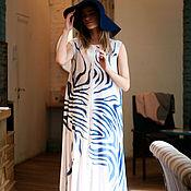 Одежда ручной работы. Ярмарка Мастеров - ручная работа шелковое платье с росписью батиком. Handmade.
