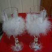 """Свадебный салон ручной работы. Ярмарка Мастеров - ручная работа Свадебные бокалы """"Легкость пушинки"""". Handmade."""