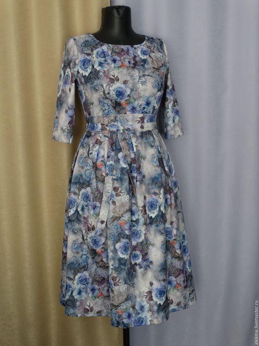 Платья ручной работы. Ярмарка Мастеров - ручная работа. Купить платье из жаккардовой х/б ткани с цветочным принтом Летние грёзы 4. Handmade.