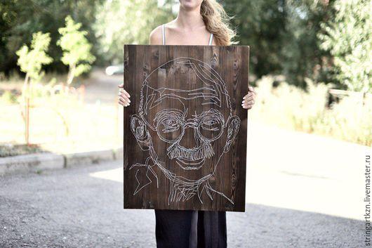 """Люди, ручной работы. Ярмарка Мастеров - ручная работа. Купить картина гвоздями и нитками """"Махатма Ганди"""". Handmade. Комбинированный, картина"""
