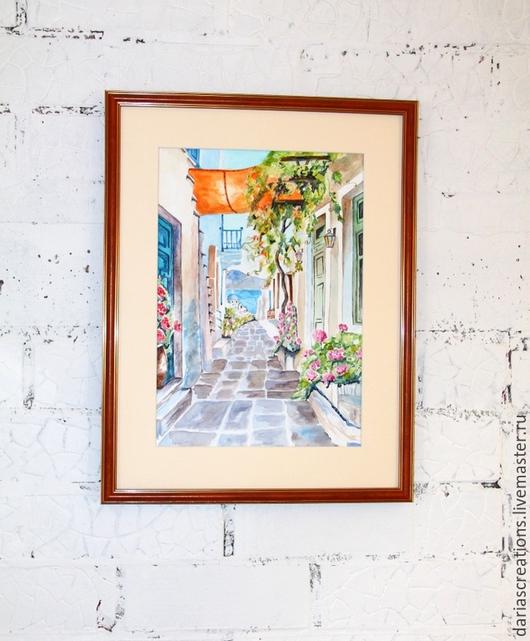 """Город ручной работы. Ярмарка Мастеров - ручная работа. Купить Акварель на бумаге. """"Греция"""". Handmade. Разноцветный, греция, акварельные краски"""