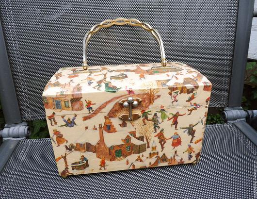 Винтажные сумки и кошельки. Ярмарка Мастеров - ручная работа. Купить Винтажная деревянная сумка-бокс с декупажем. Handmade. Винтажная сумка