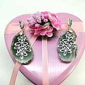 """Украшения handmade. Livemaster - original item Крупные серьги из зеленых срезов агата """"Луговые цветы"""". Handmade."""