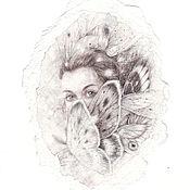 Картины и панно ручной работы. Ярмарка Мастеров - ручная работа Мотылёк. (В частной коллекции). Handmade.