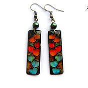 "Украшения handmade. Livemaster - original item Transparent earrings ""Autumn"" Jewelry resin. Leaves.. Handmade."