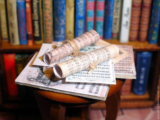 Кукольный дом ручной работы. Ярмарка Мастеров - ручная работа. Купить Миниатюра 1:12. Ноты в библиотеку кукольного дома. Handmade.