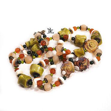 """Украшения ручной работы. Ярмарка Мастеров - ручная работа Бусы """"Лето у моря"""" . Лэмпворк, коралл, натуральные камни. Handmade."""