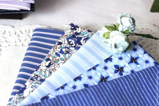 Шитье ручной работы. Ярмарка Мастеров - ручная работа. Купить Набор тканей Синяя Гамма. Handmade. Ткань для рукоделия, ткань