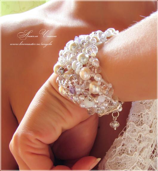 Жемчужный, ажурный свадебный браслет для невесты.   Украшения для невесты. Необычные свадебные украшения. Свадебный стиль. Аксессуары для невесты.
