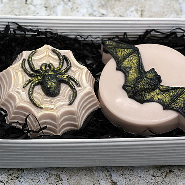 Cosmetics handmade. Livemaster - original item The soap set Halloween Bat and spider. Handmade.