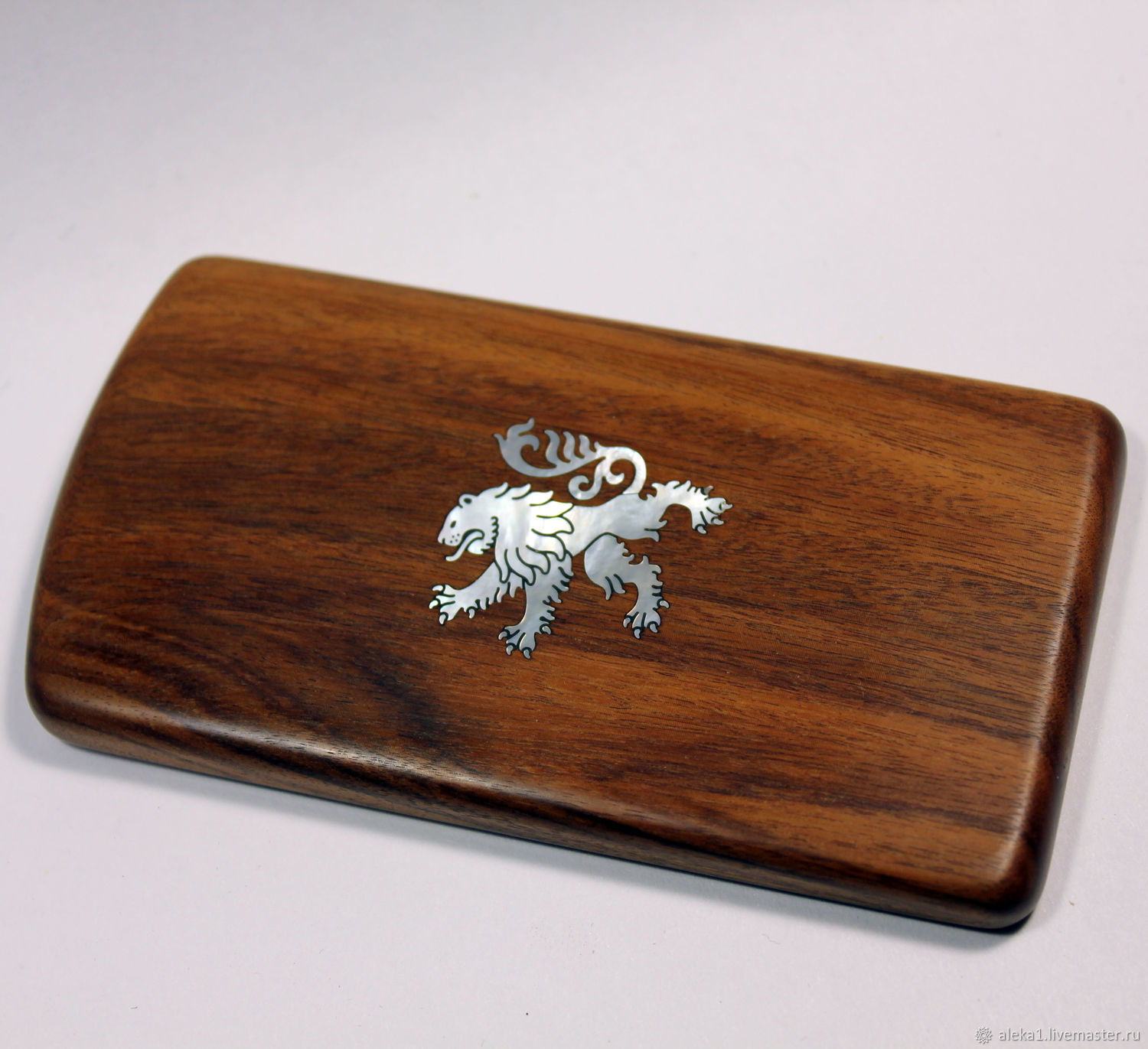 Wooden business card holder made of walnut with pearl - lion inlay, Business card holders, Nakhabino,  Фото №1