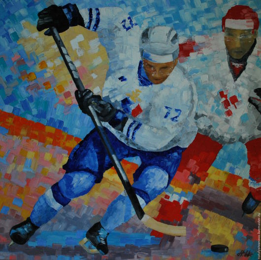 """Люди, ручной работы. Ярмарка Мастеров - ручная работа. Купить Картина мастихином """"Мы в хоккее!"""" без багета. Handmade."""