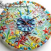 """Для дома и интерьера ручной работы. Ярмарка Мастеров - ручная работа Настенные часы """"Морское царство"""", фьюзинг. Handmade."""