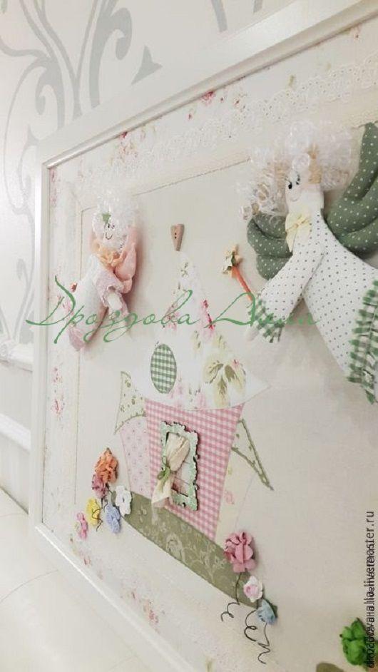 """Фантазийные сюжеты ручной работы. Ярмарка Мастеров - ручная работа. Купить Панно """"На Счастье!"""")). Handmade. Бежевый, розово-зеленый"""