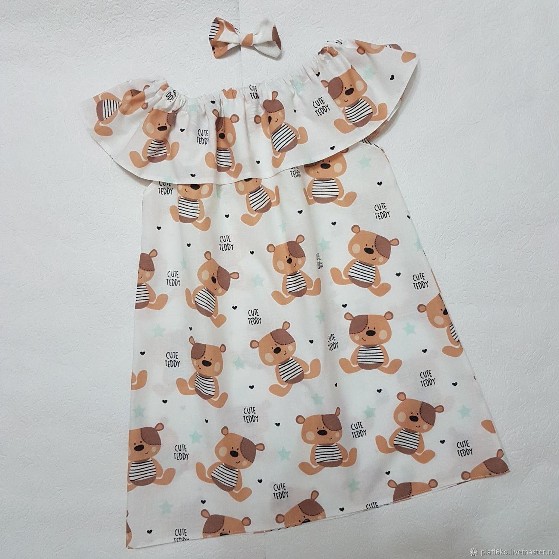 """Одежда для девочек, ручной работы. Ярмарка Мастеров - ручная работа. Купить Детское платье для девочки с воланом из хлопка """"Мишки"""". Handmade."""