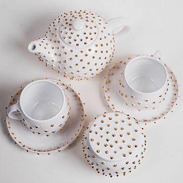 Посуда ручной работы. Ярмарка Мастеров - ручная работа Набор чайный с шипами. Handmade.