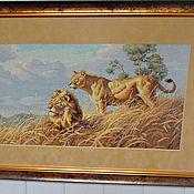 """Картины и панно ручной работы. Ярмарка Мастеров - ручная работа вышитая картина """"Львы"""". Handmade."""
