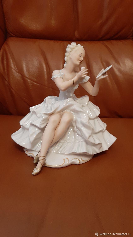 Винтаж: Шаубах Кунст Валлендорф фарфор статуэтка- Балерина с зеркальцем, Предметы интерьера винтажные, Лейпциг,  Фото №1